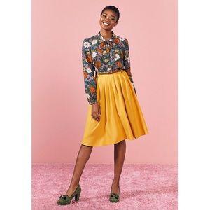 Modcloth Yellow Midi Skirt